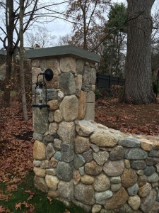 Pillar with  Lantern | Metro West Boston | Landscape Design